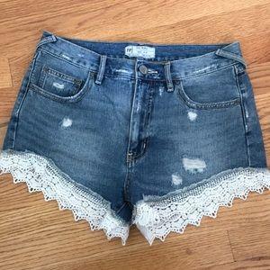 Free People lace denim shorts